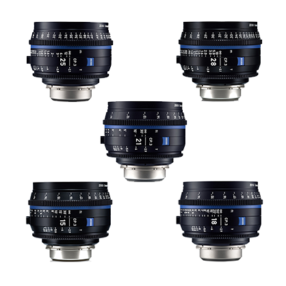 Kit 5 Objetivos Canon Zeiss Compact Prime CP.3: 15mm, 18mm, 21mm, 25mm, 28mm