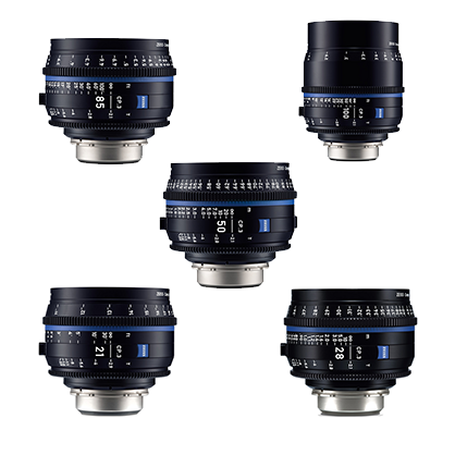 Kit 5 Objetivos Canon Zeiss Compact Prime CP.3: 21mm, 28mm, 50mm, 85mm, 100mm