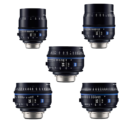 Kit 5 Objetivos Canon Zeiss Compact Prime CP.3: 35mm, 50mm, 85mm, 100mm, 135mm